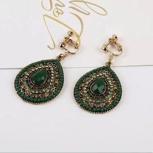 Green Bohemian Tear Shaped Clip On Earrings